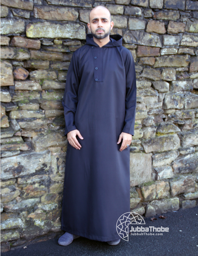 4 Button Black Hooded Jubba