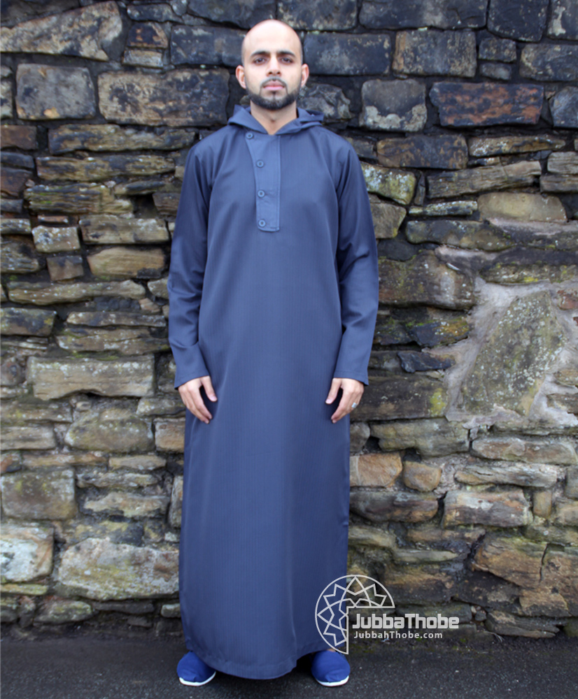 4 Button Navy Blue Hooded Jubba