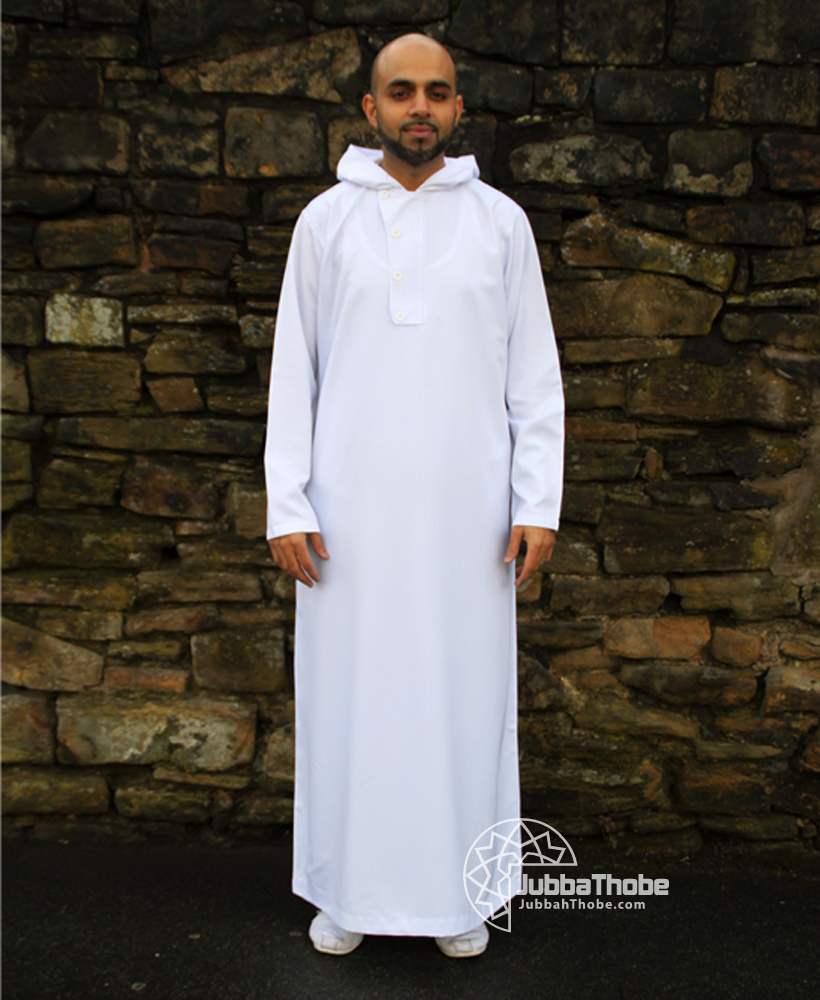 4 Button White Hooded Jubba