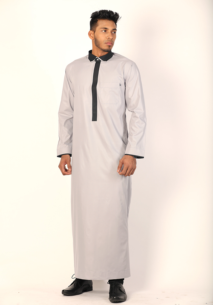 Grey Collar Jubbah Thobe
