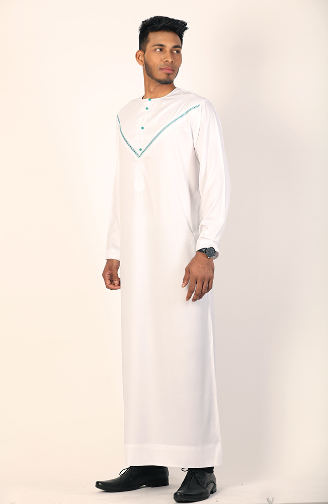 Omani Jubba White and Green