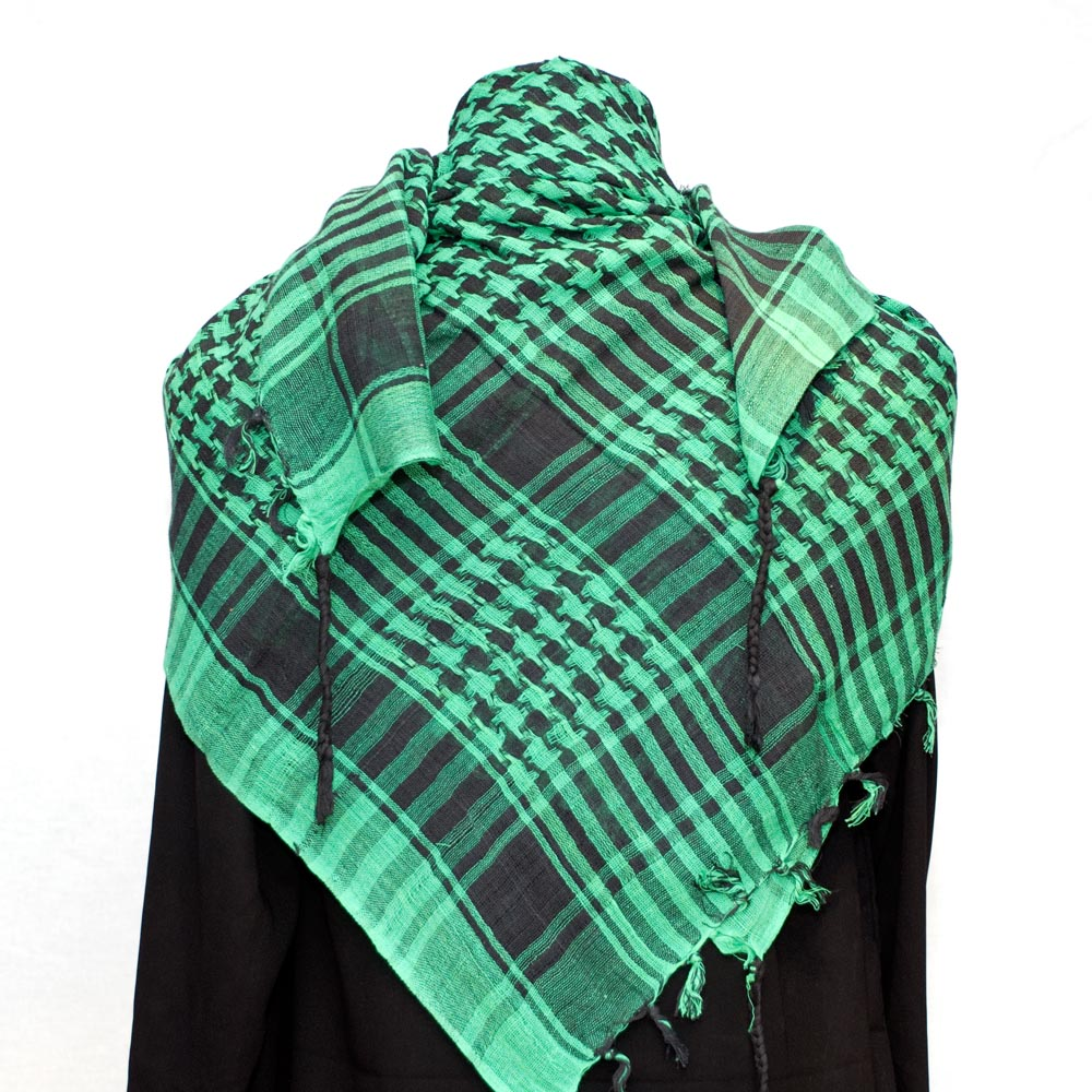 Palestinian Keffiyeh Scarf Black on Green