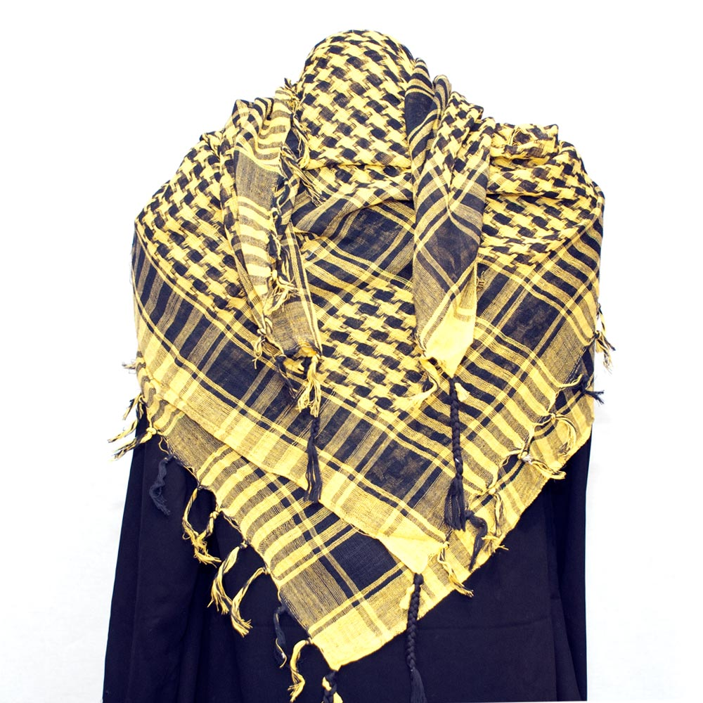 Palestinian Keffiyeh Scarf black on yellow