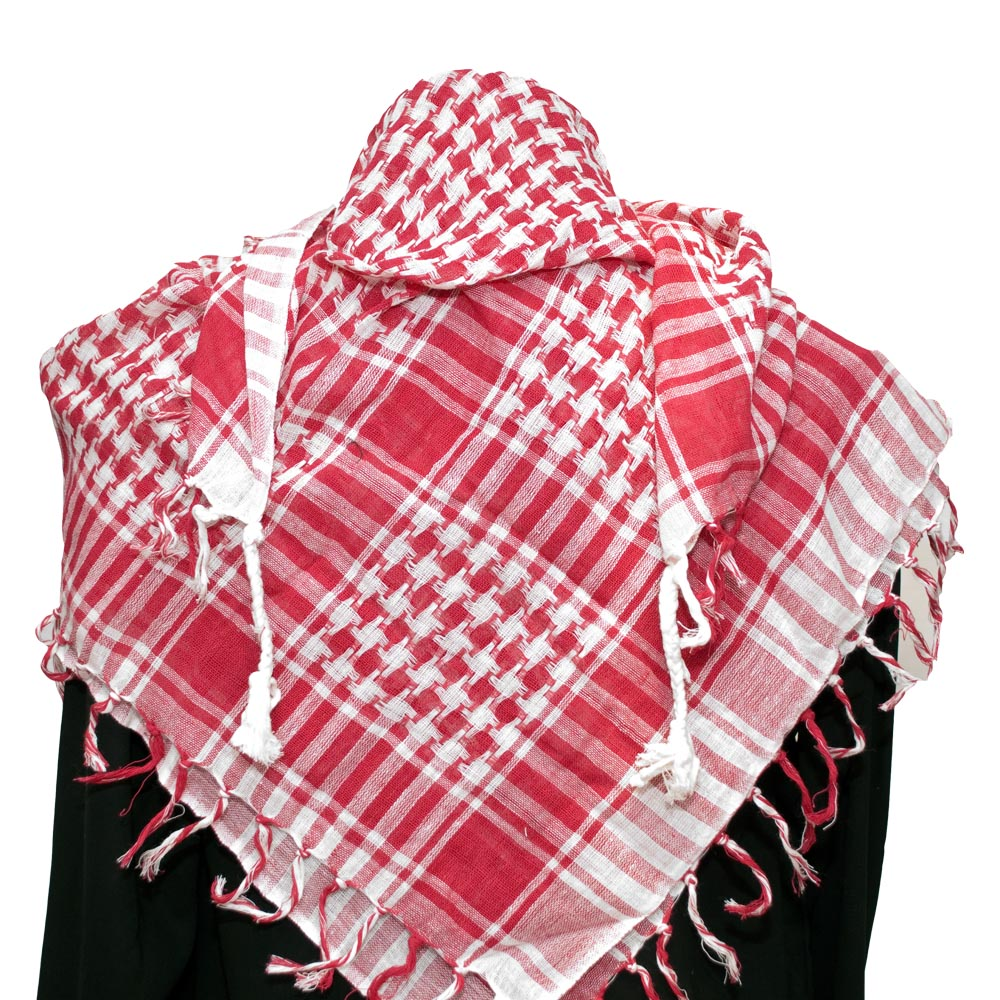 Palestinian Keffiyeh Scarf red on white