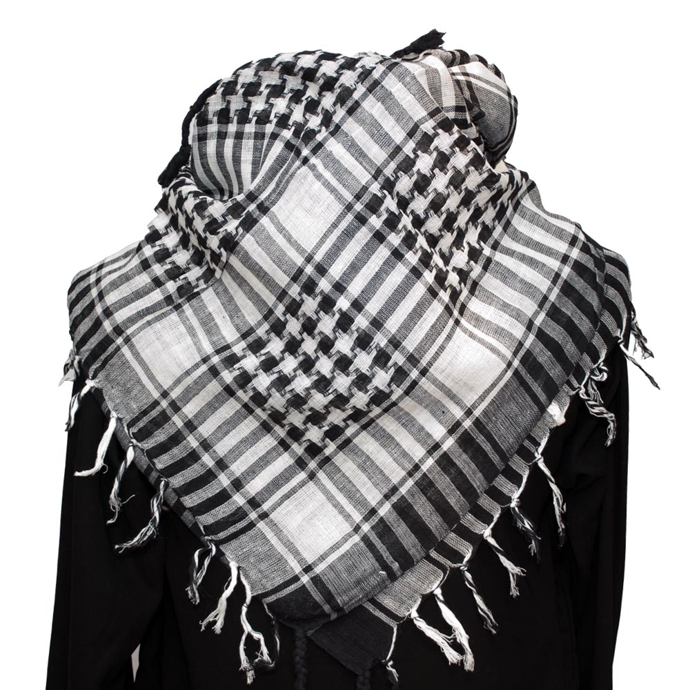 keffiyeh. palestinian keffiyeh scarf white on black \