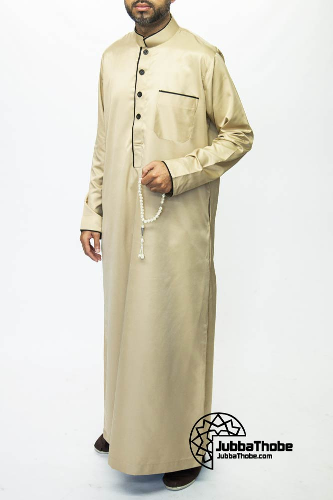 Beige Mens Pipping Jubba
