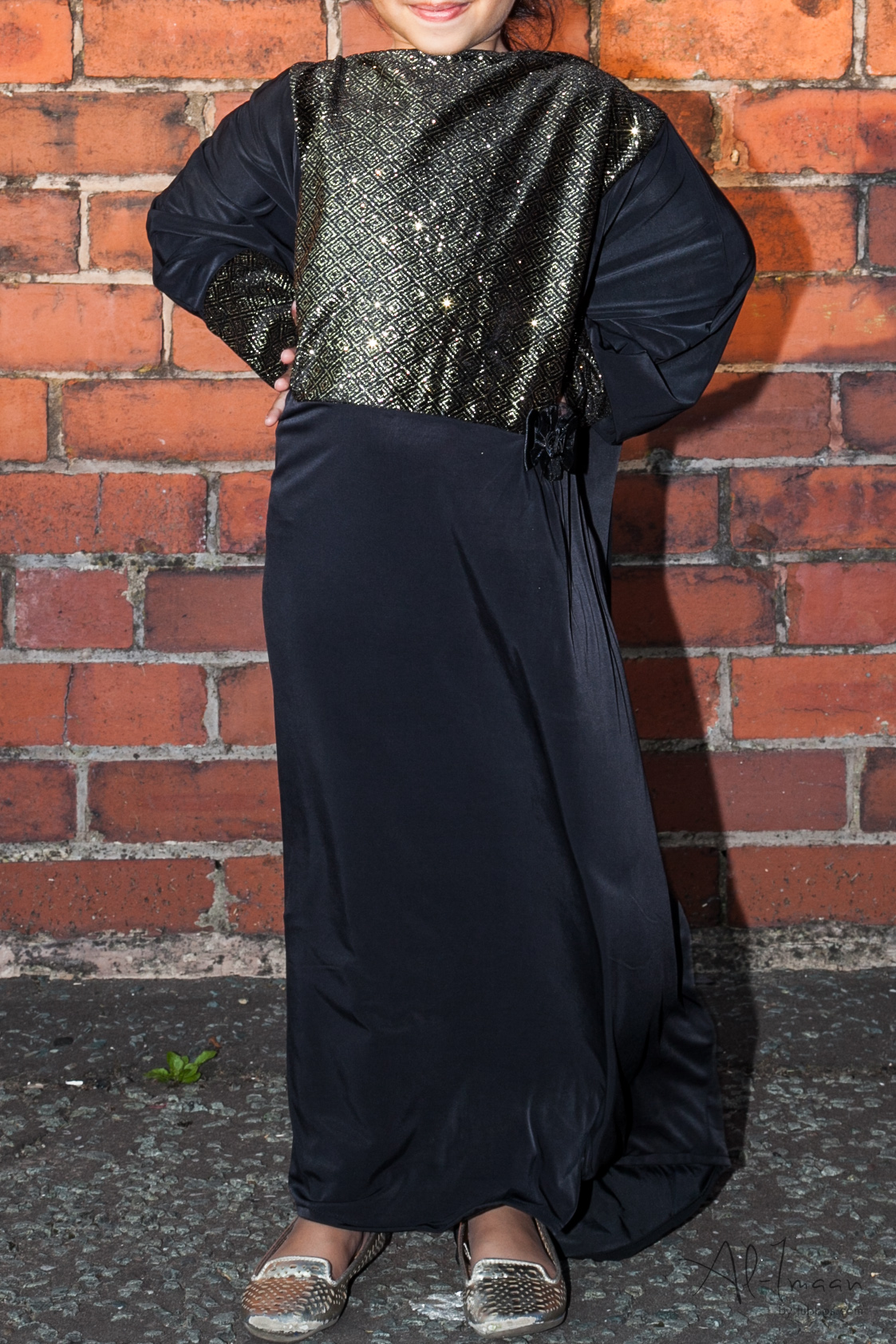 Girls Diamante Black Abaya