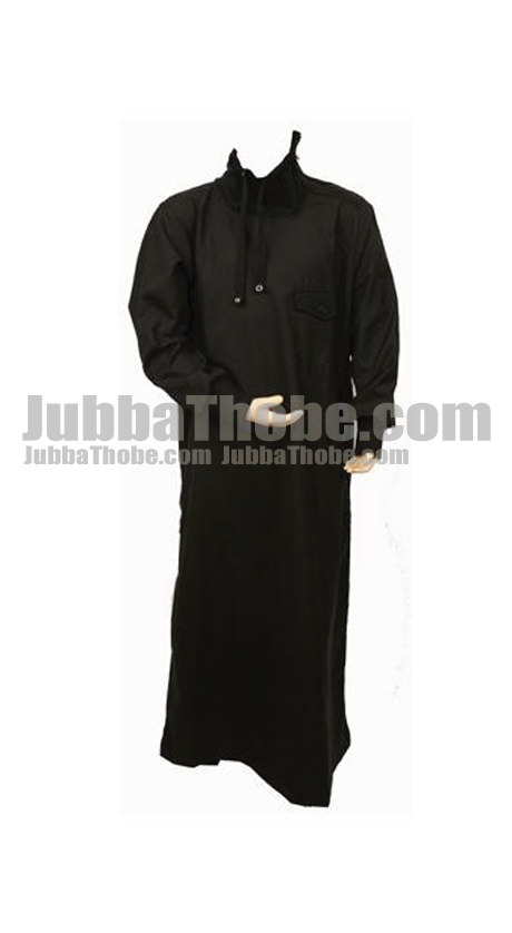 Black Design Polo Neck Jubba Thobe