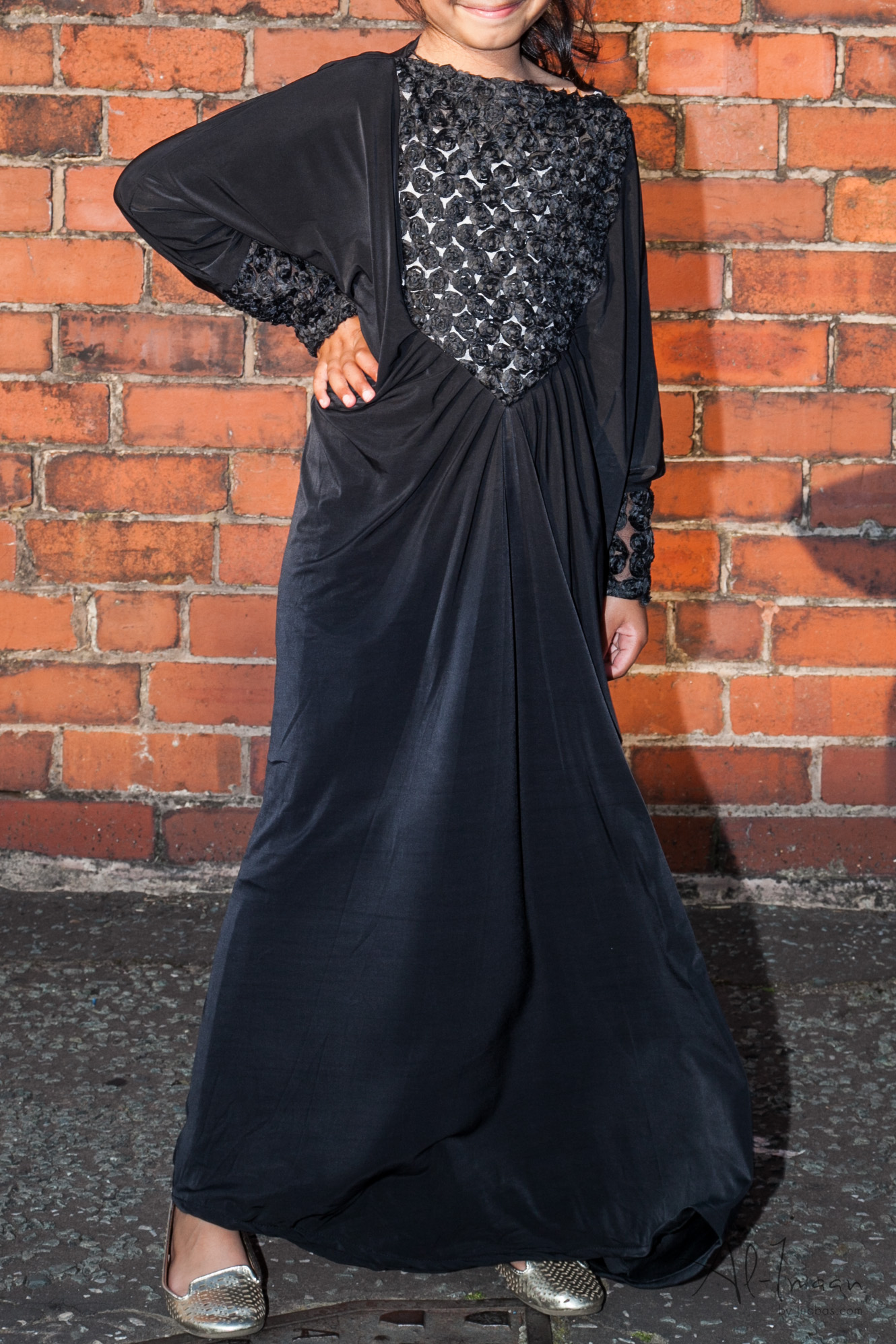 Girls Flower Black Abaya