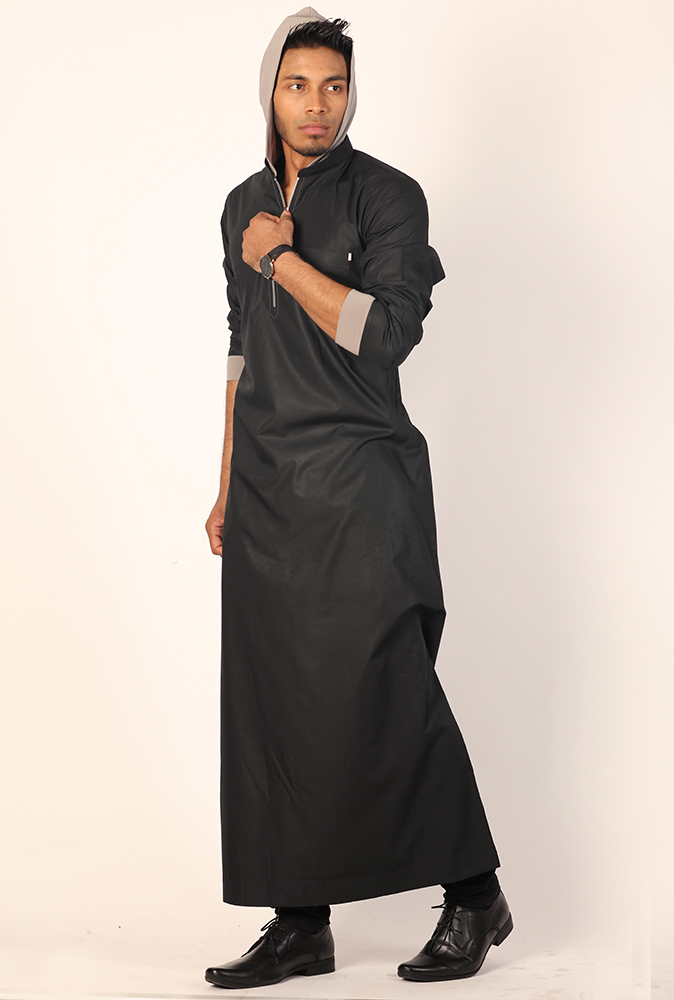 New Black Hooded Jubba Thobe