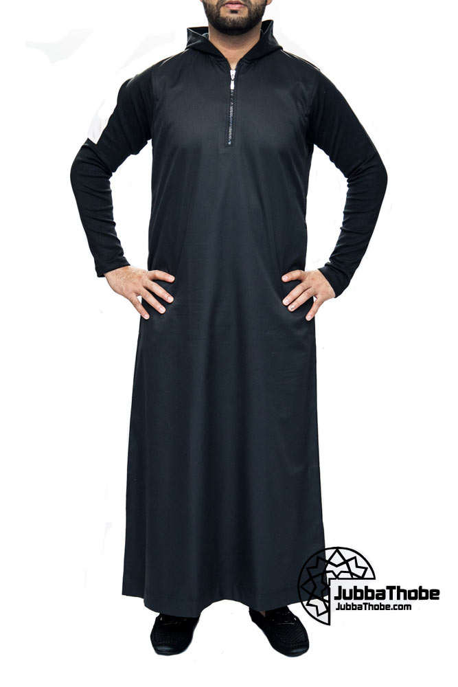 Black Hooded New Mens Jubbah Thobe