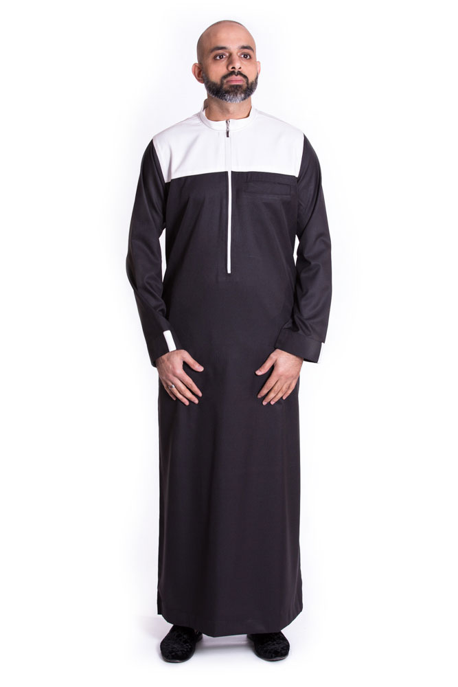 Black - White contrast Mens Islamic Jubba