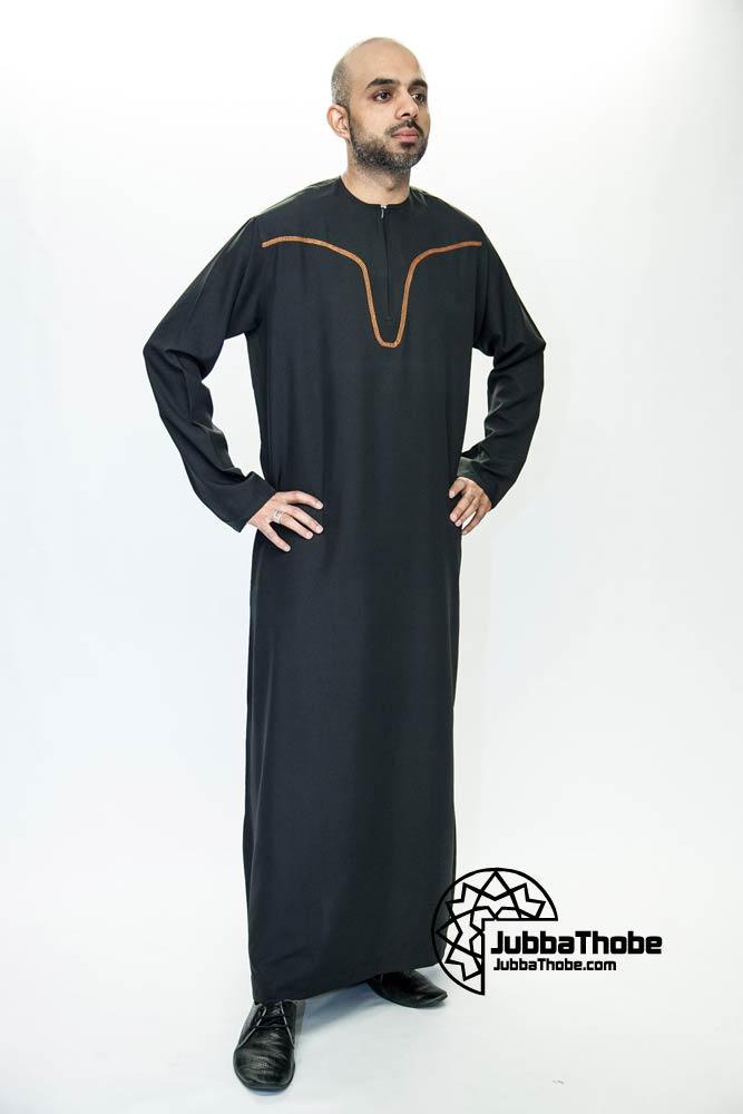 Black New Omani Mens Jubba Thobe