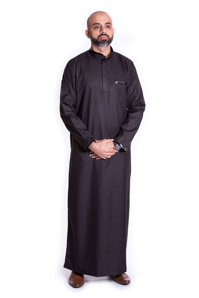 Black Buttoned Collar Pipping Jubba