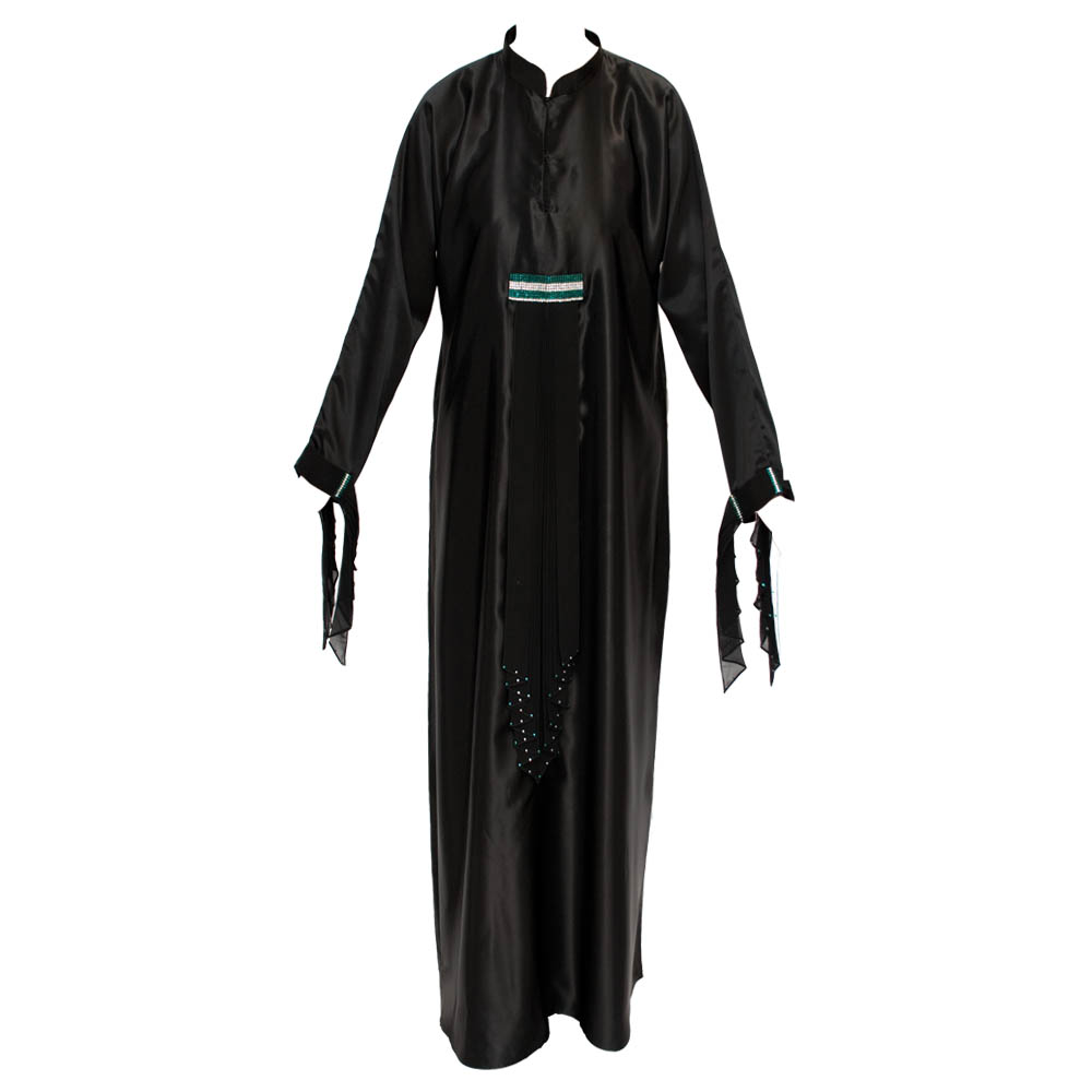 Black Satin Green Diamente Abaya
