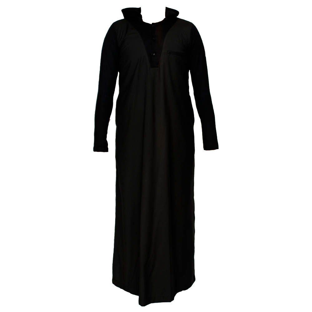 Black V Neck Hooded Jubba