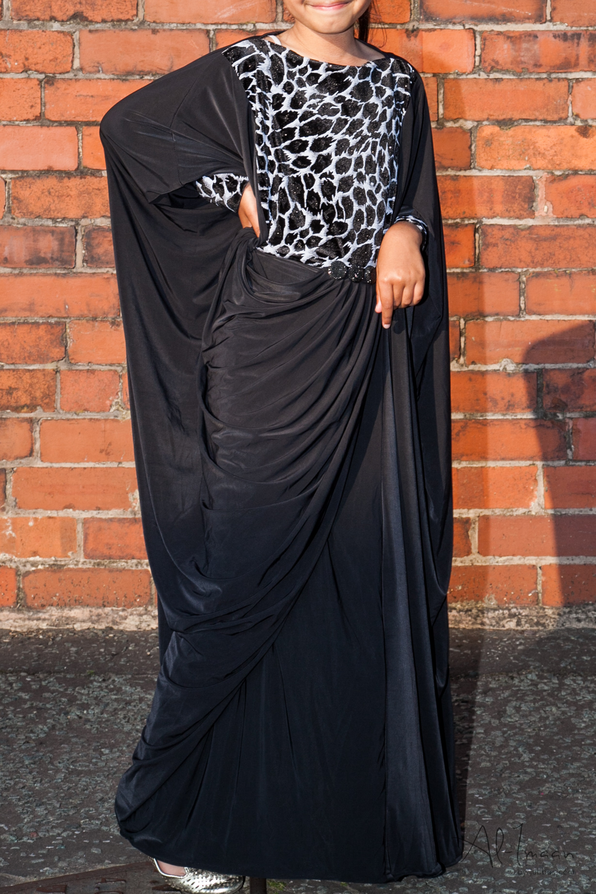 Girls Black Diamante Silver Abaya