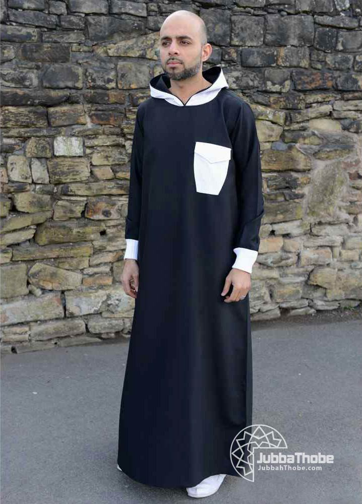 Black White Hooded Jubba Thobe