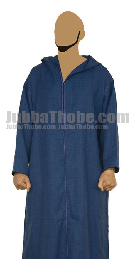 Blue Morrocan Men Stylish Jubba Thobe With Hoodie