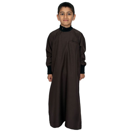 Brown Color Jumper Cuff Neck Childrens Jubba