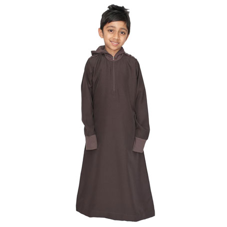 Brown Full Zipped Stylish Children Jubba