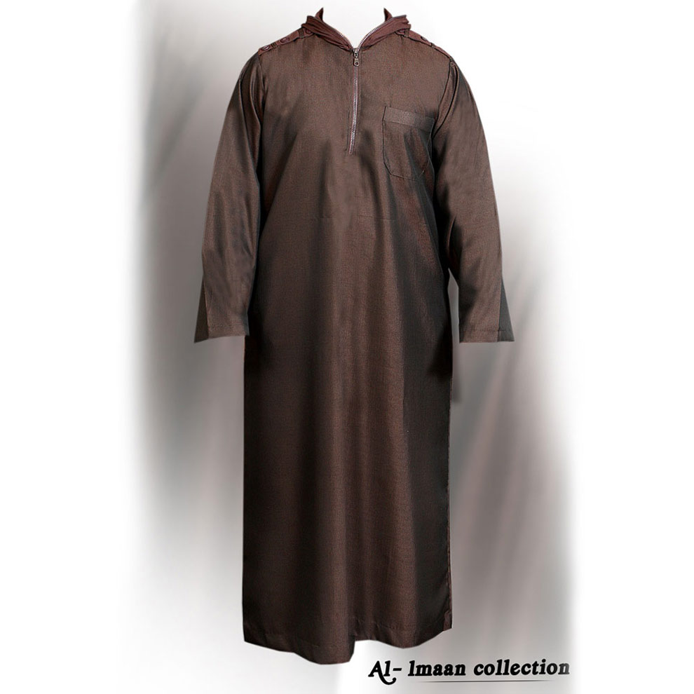 Brown Full Zipper Hooded Jubba Thobe