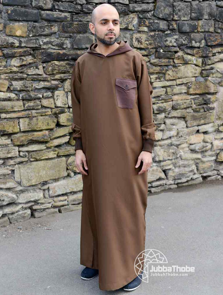Brown Hooded Jubba Thobe