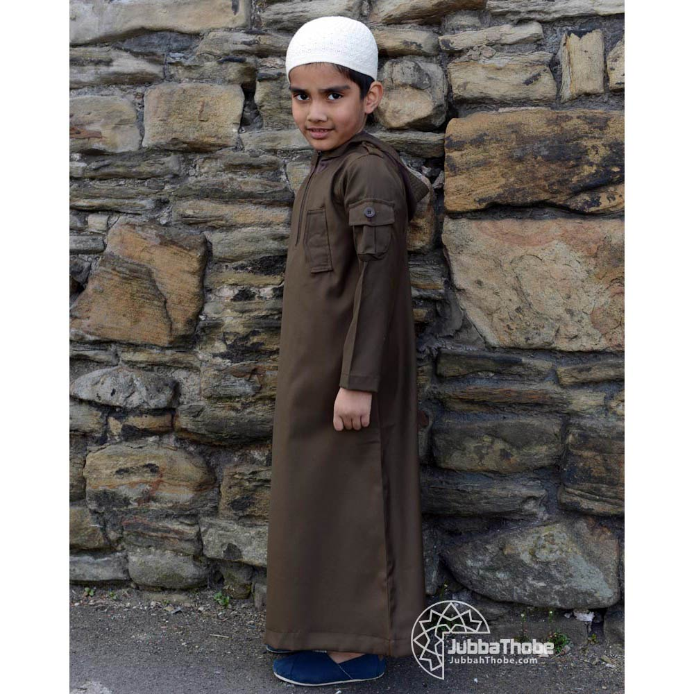 Brown Hooded Side Pocket Children Jubba