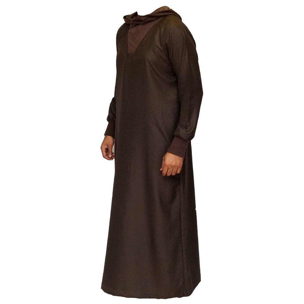 Brown Hooded Islamic Jubba Thobe
