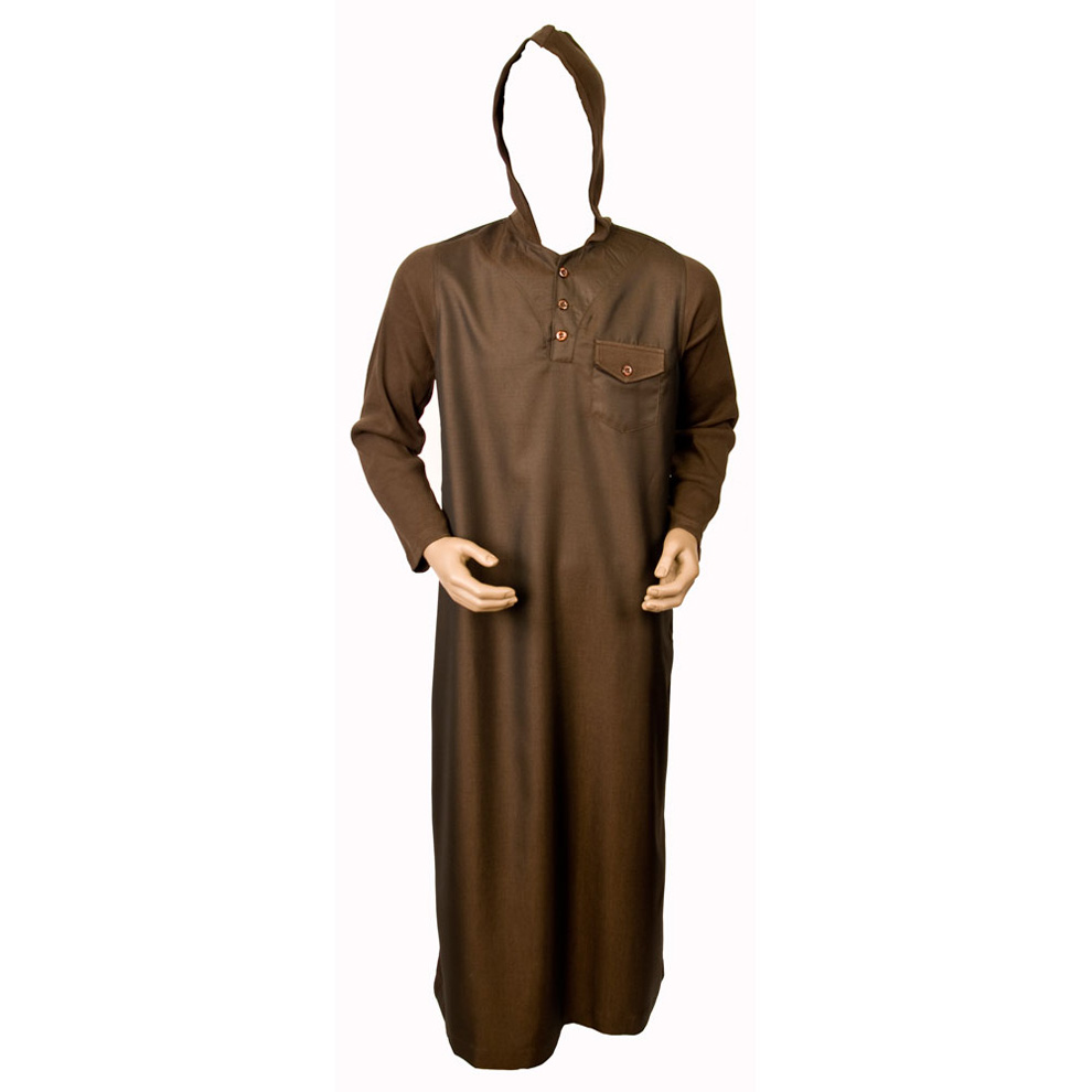 Brown Jumper Sleeve Hooded Jubba Thobe