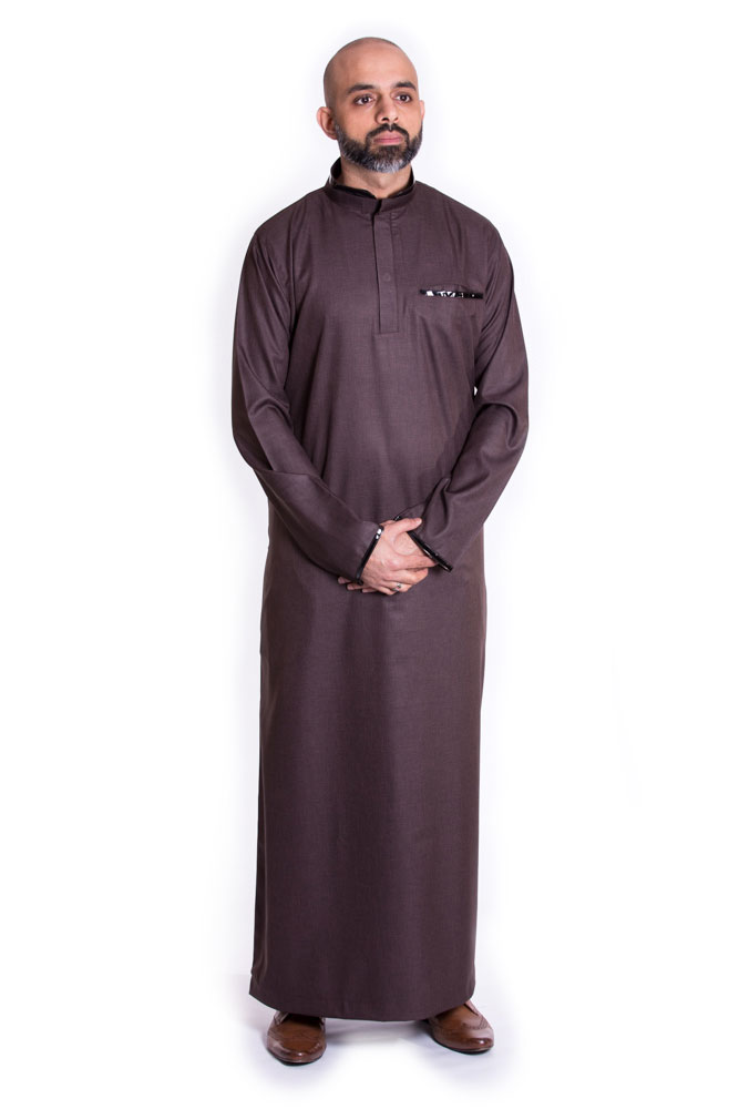 Brown Buttoned Collar Pipping Jubba