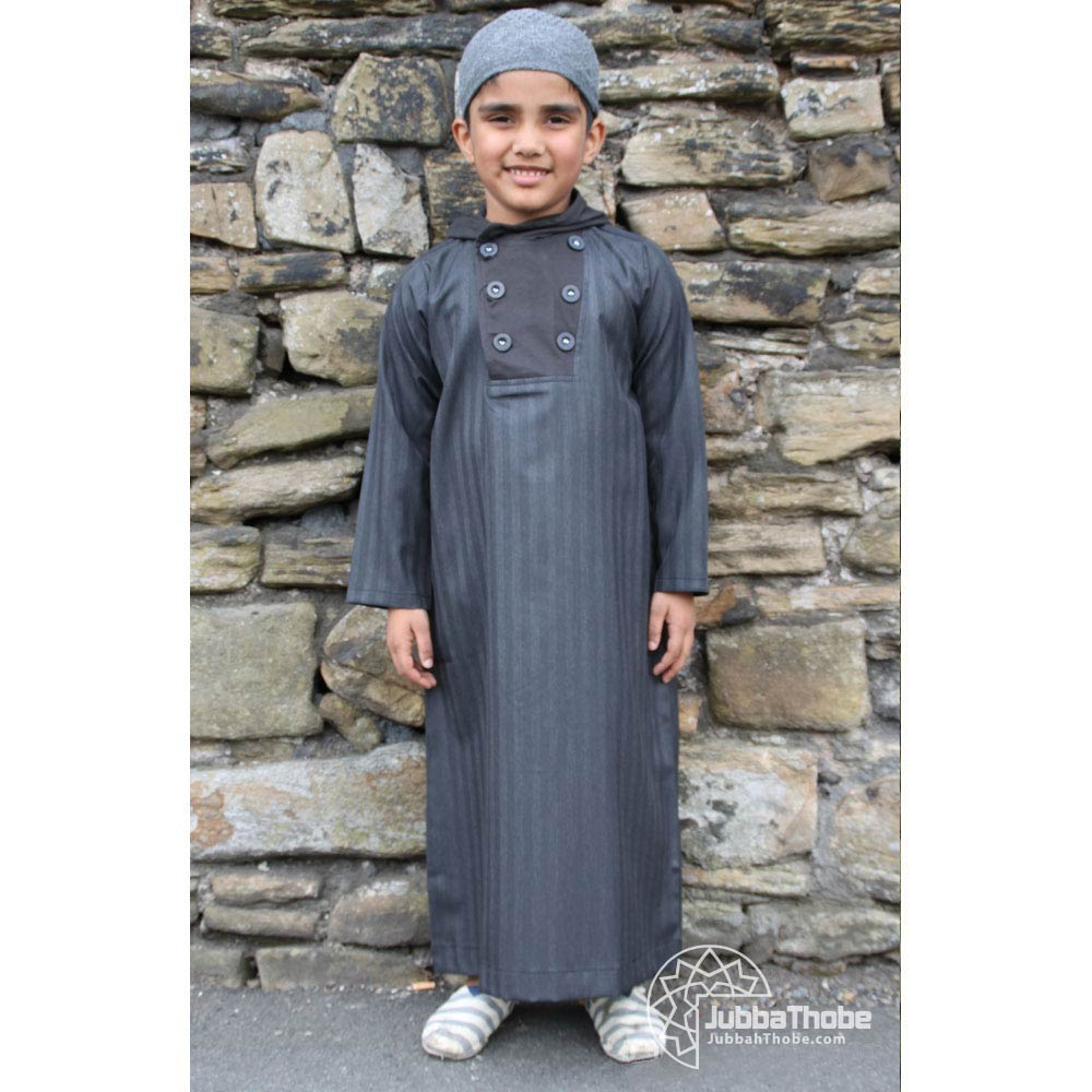 Button Hooded Charcoal Black Children Jubba