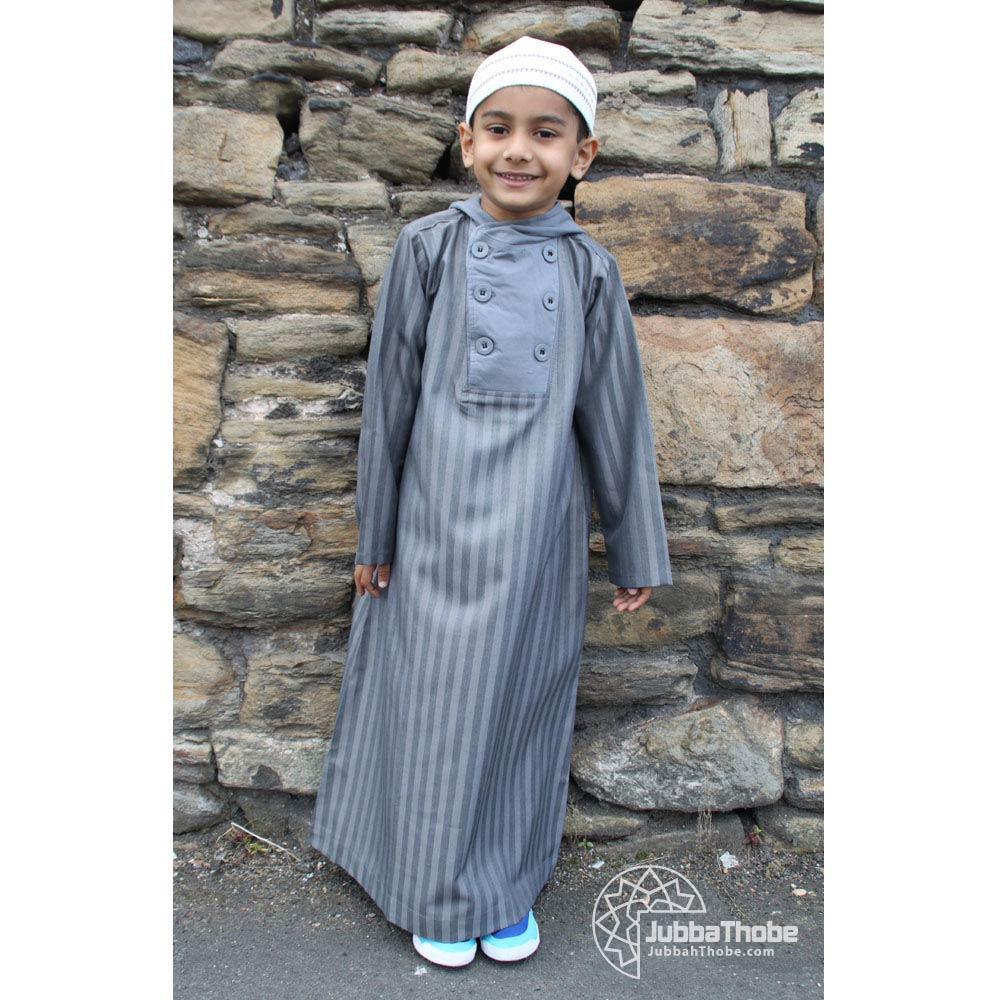 Button Hooded Charcoal Grey Children Jubba