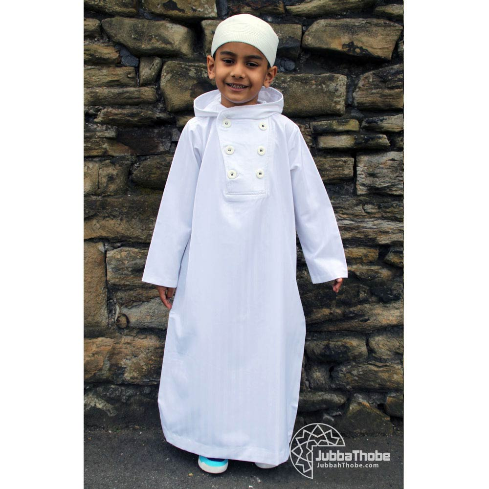 Button Hooded White Children Jubba