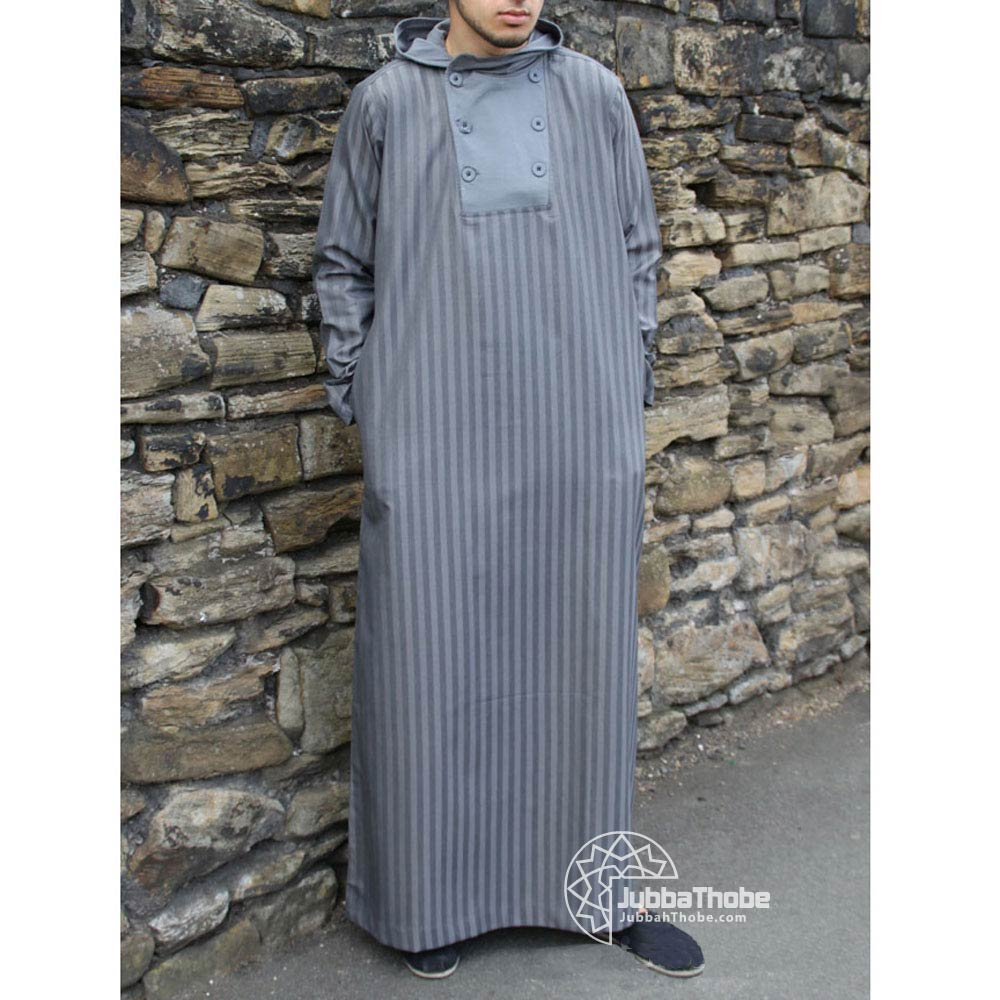 Buttoned Grey Jubba Thobe