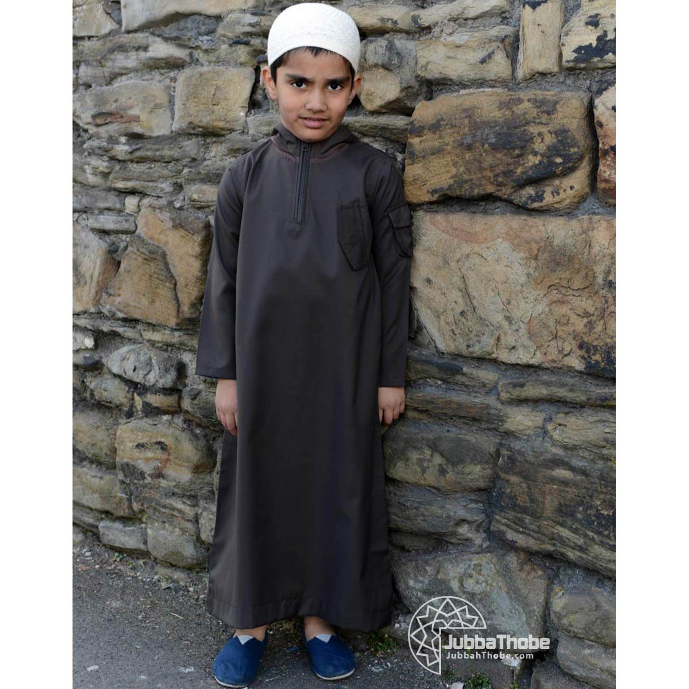 Dark Brown Hooded Childern Jubba