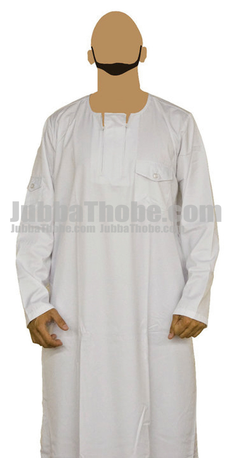 Double Zipped White Stylish Jubba Thobe