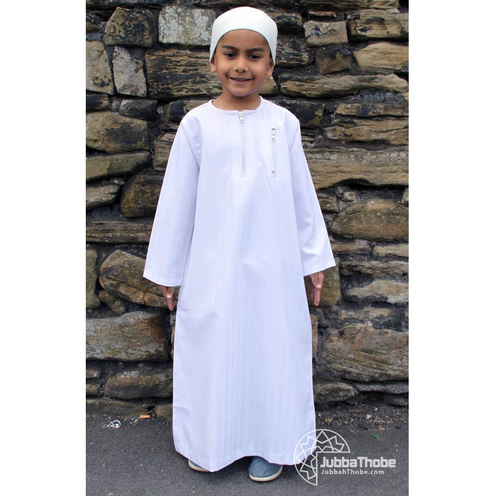 Double Zipper White Children Jubba