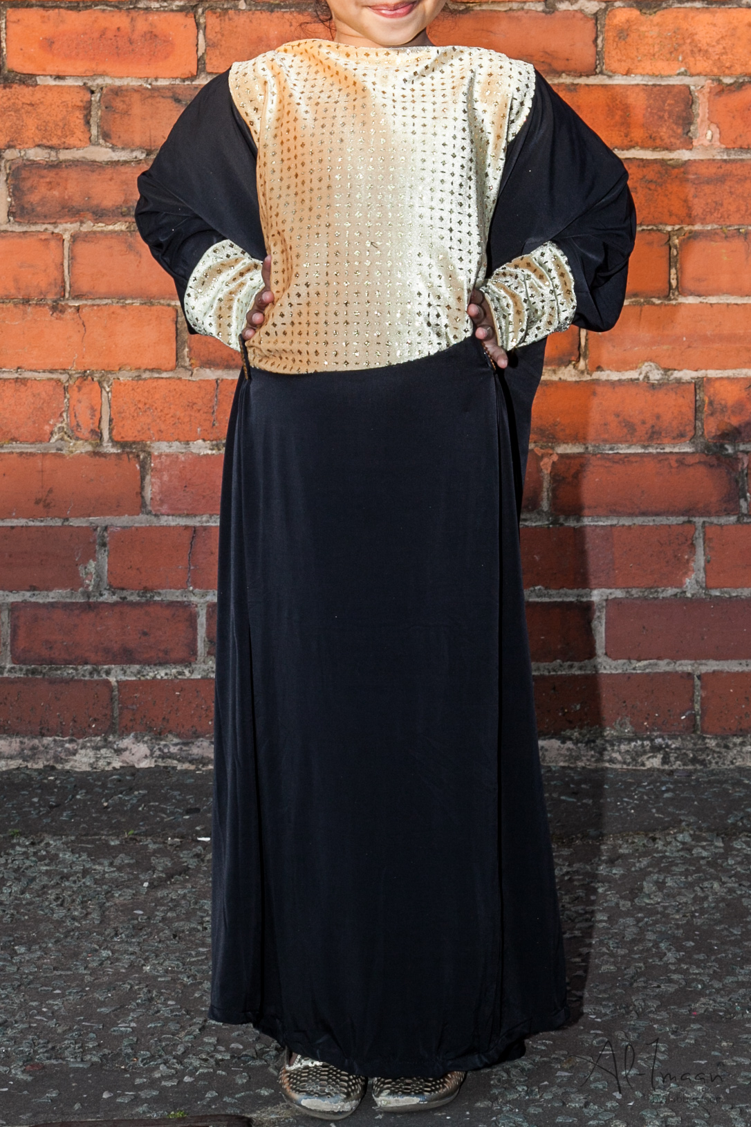 Girls Butterfly Glittered Abaya