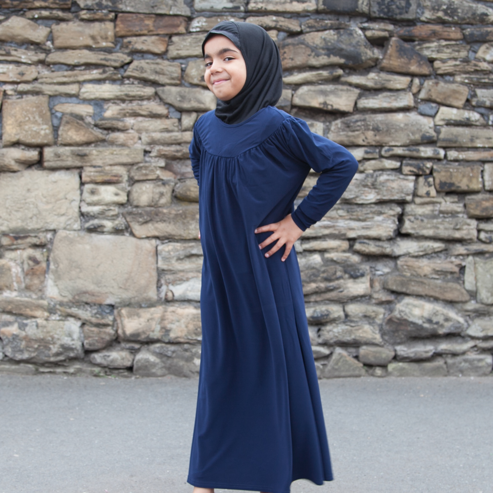 Girls Plain Abaya Navy Blue