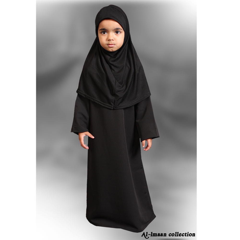 Black Plain Girls Abaya