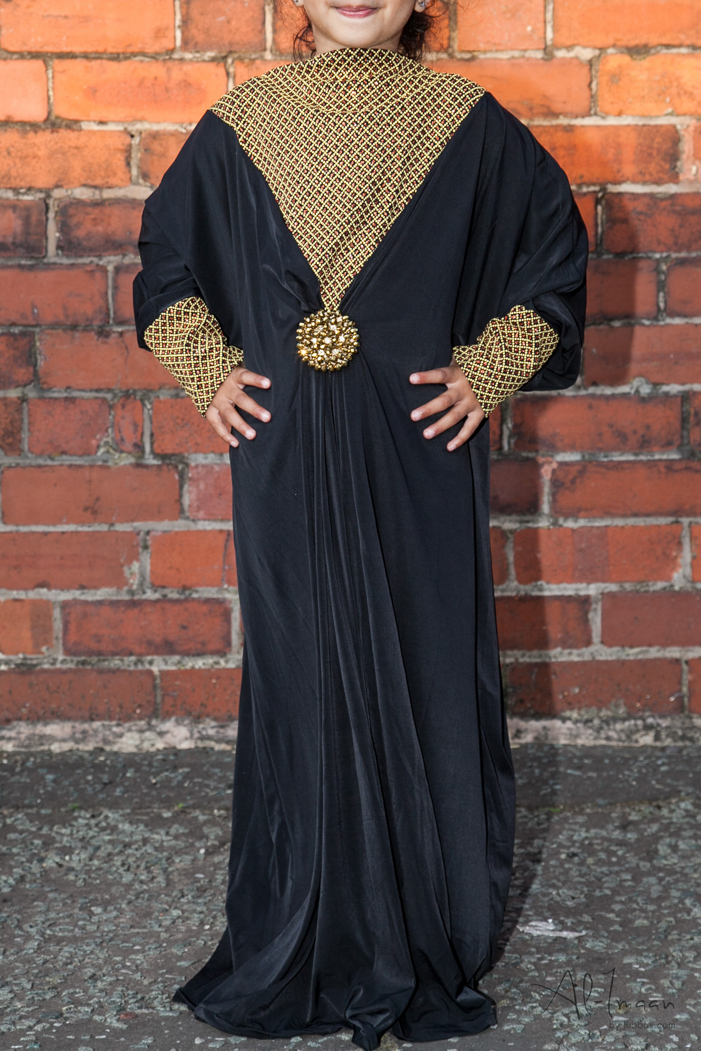 Kids Butterfly Black and Gold Abaya