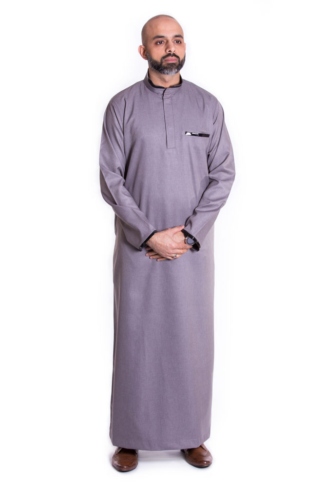 Gray Buttoned Collar Pipping Jubba