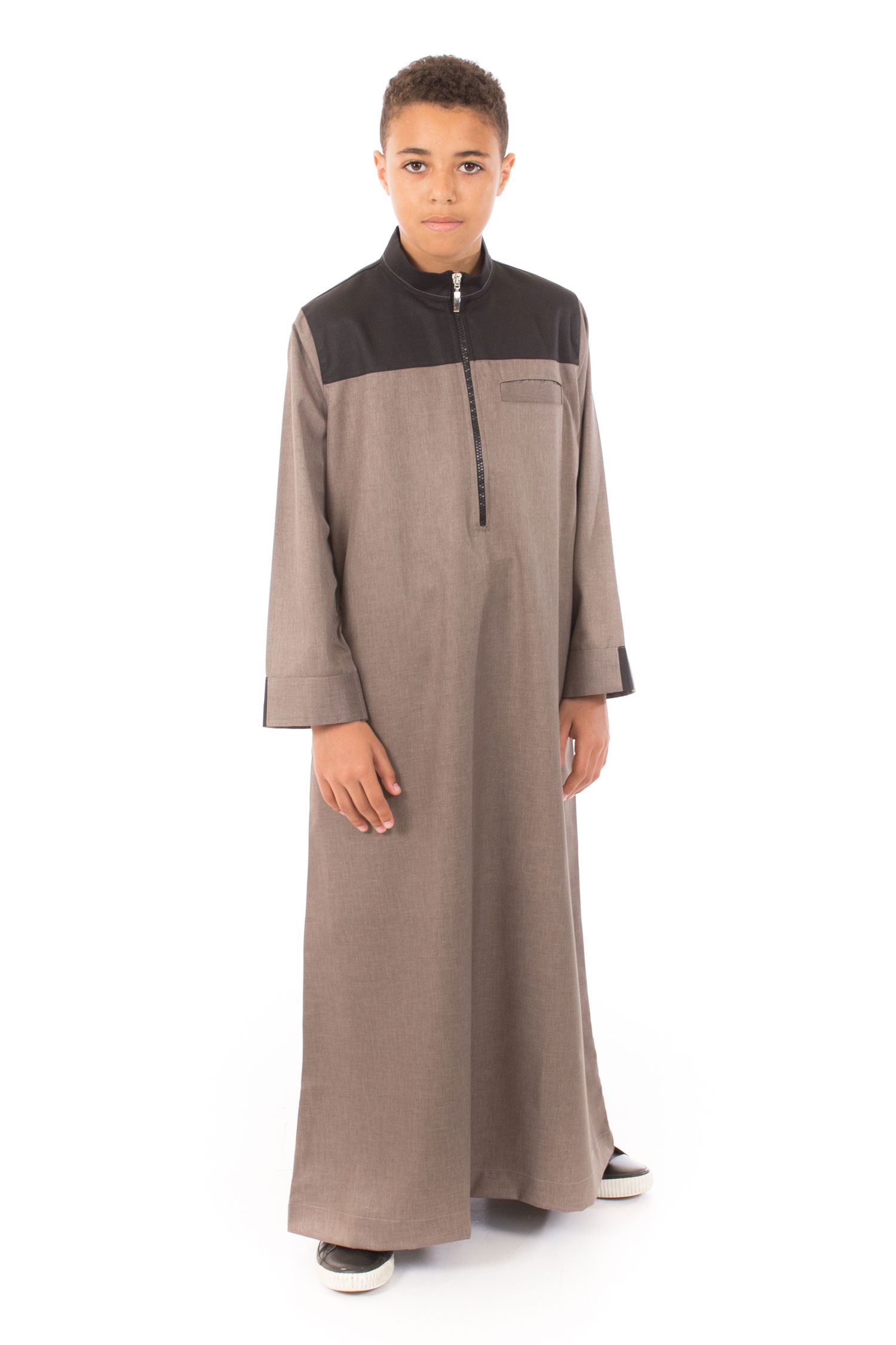 Gray - Black contrast Kids Islamic Jubba
