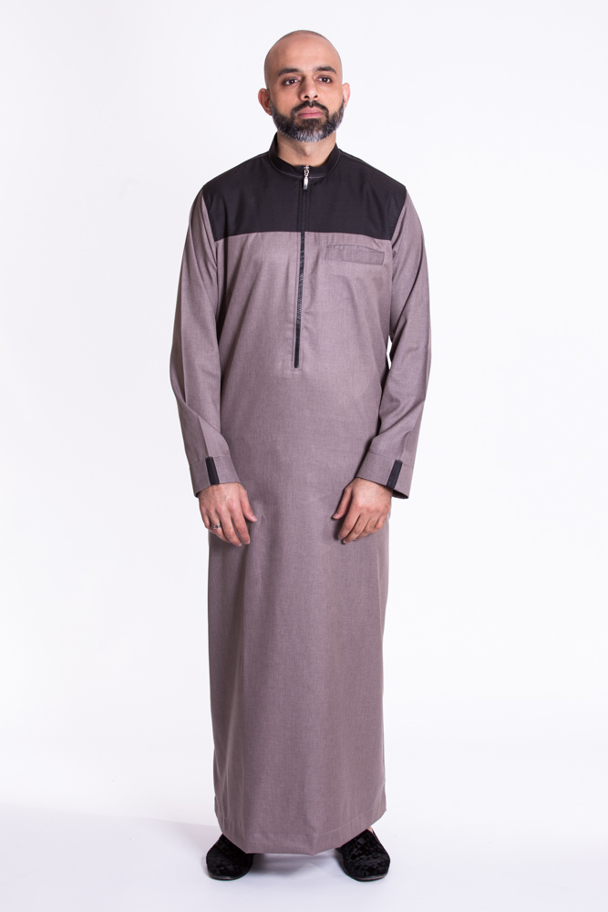 Grey - Black contrast Mens Islamic Jubba
