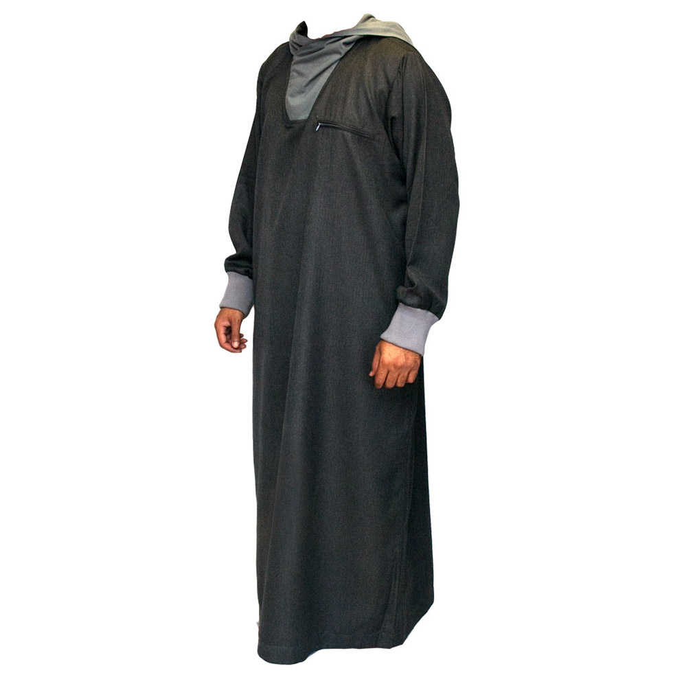 Grey Hooded Islamic Jubbah Thobe