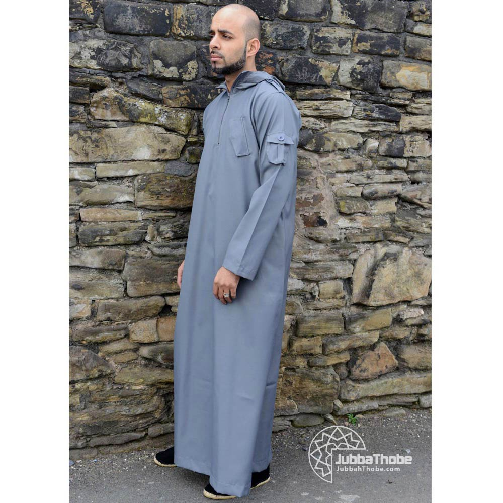 Grey Hooded Urban Jubba Thobe