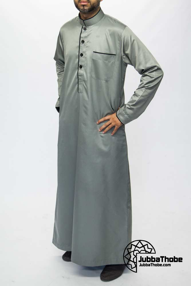 Grey Mens Pipping Jubba Thobe