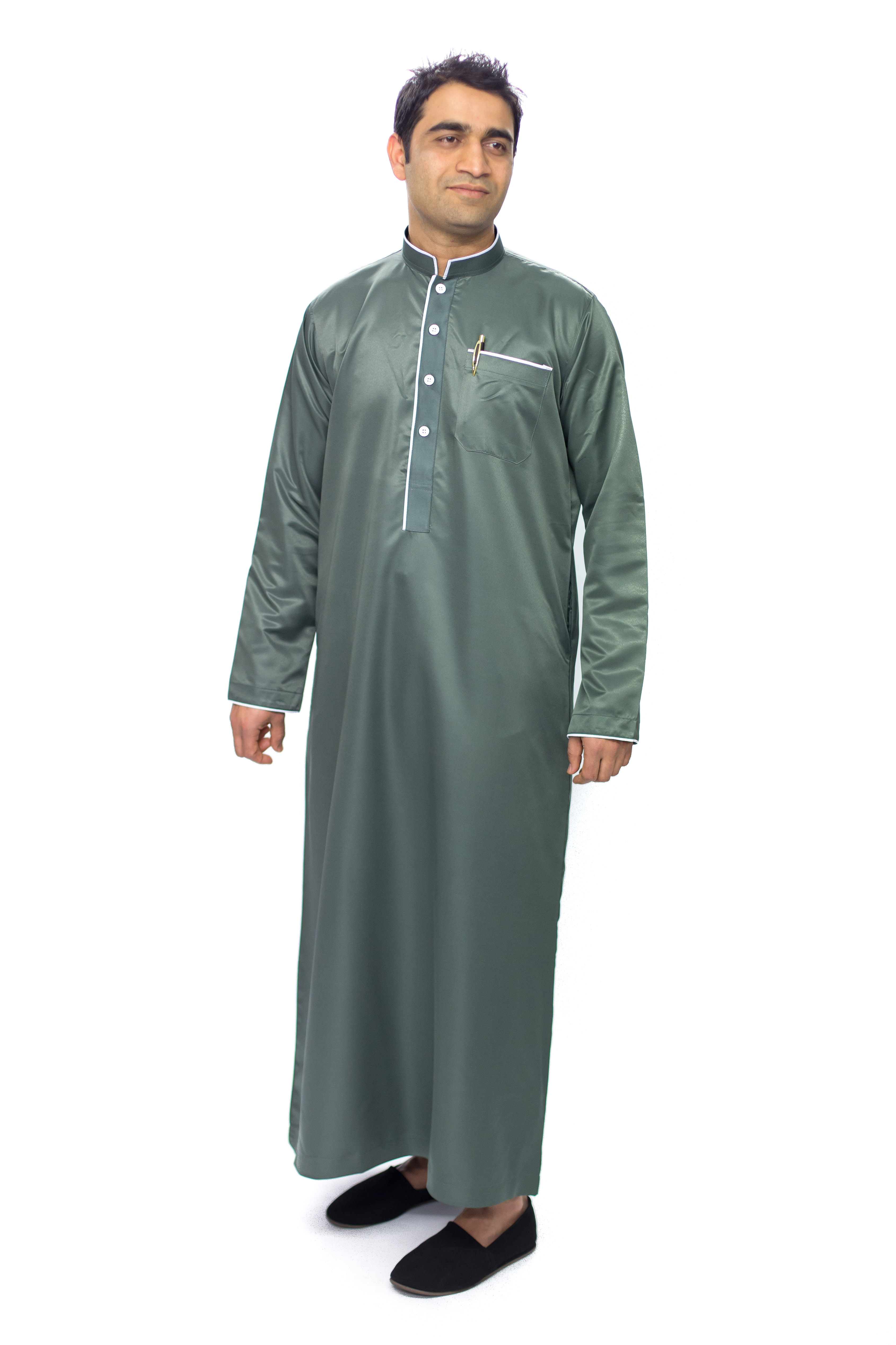 Dim Grey New Mens Pipping Jubba Thobe