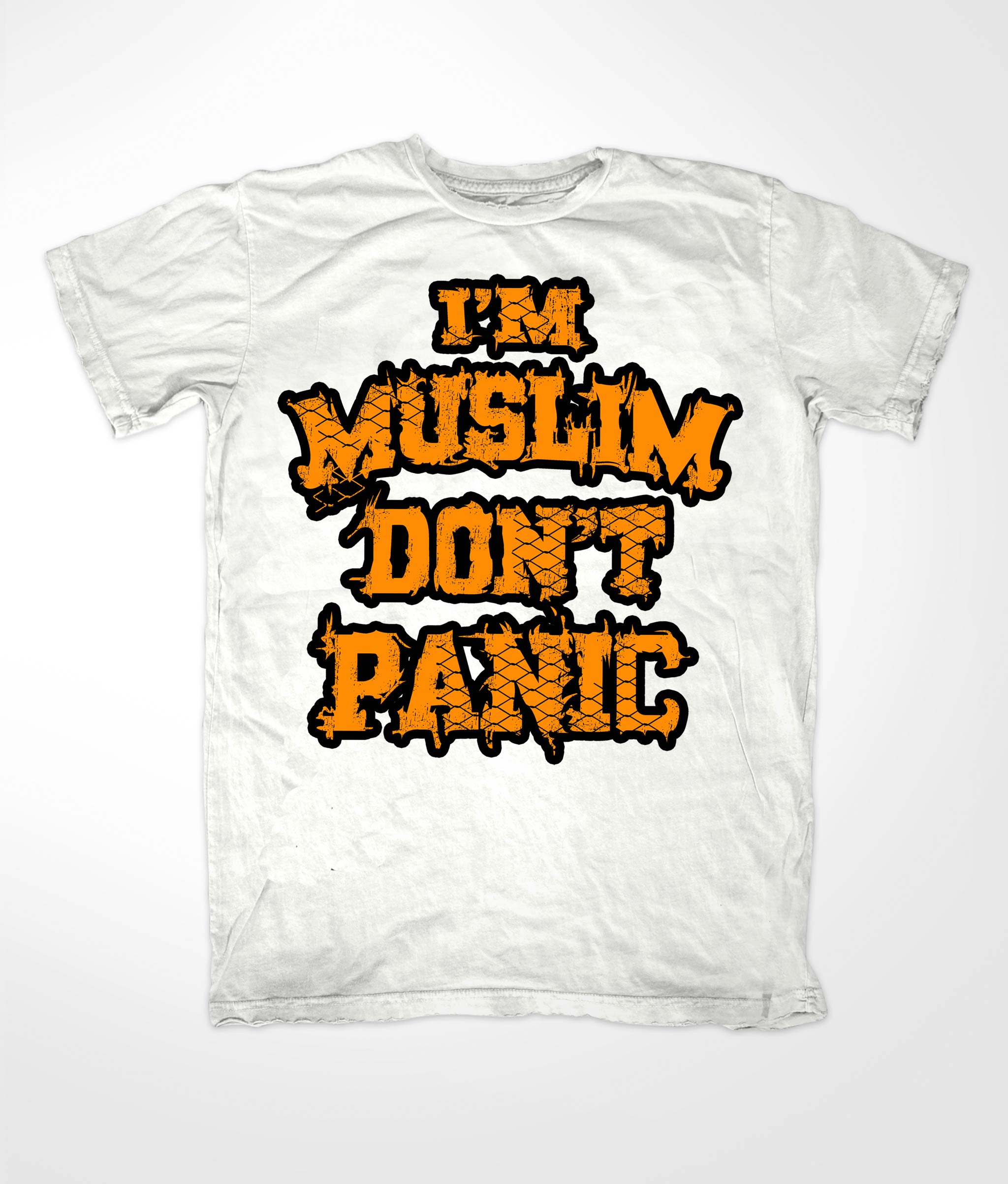 Im Muslim Dont Panic Orange on White Tee